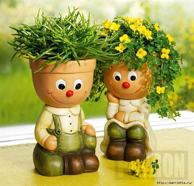 украшение для сада. куклы из цветочных горшков (14) (660x631, 332Kb)