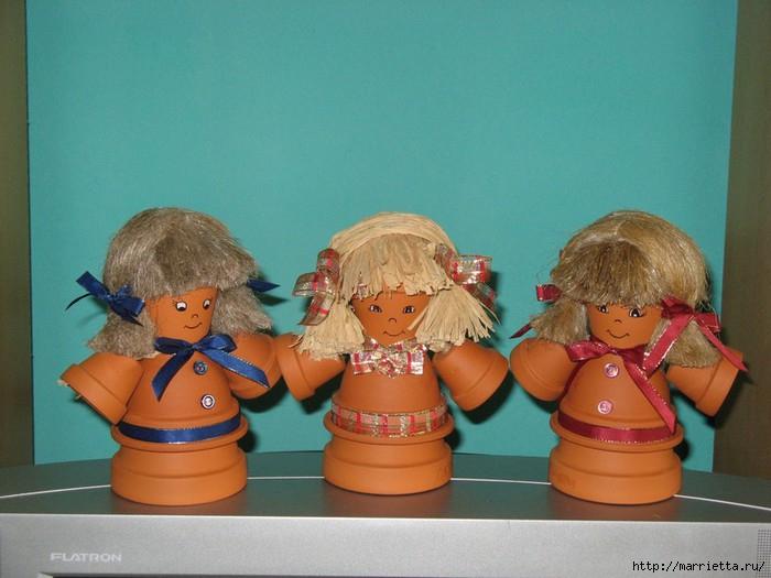 украшение для сада. куклы из цветочных горшков (28) (700x525, 174Kb)