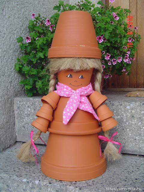украшение для сада. куклы из цветочных горшков (40) (480x640, 170Kb)