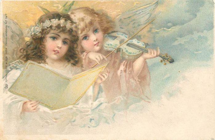 Старинные открытки с нем ангела 494