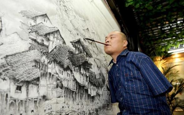 китайских художник-инвалид Хуан Гоффу 1 (590x368, 176Kb)