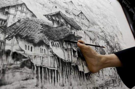 китайских художник-инвалид Хуан Гоффу 3 (550x363, 62Kb)
