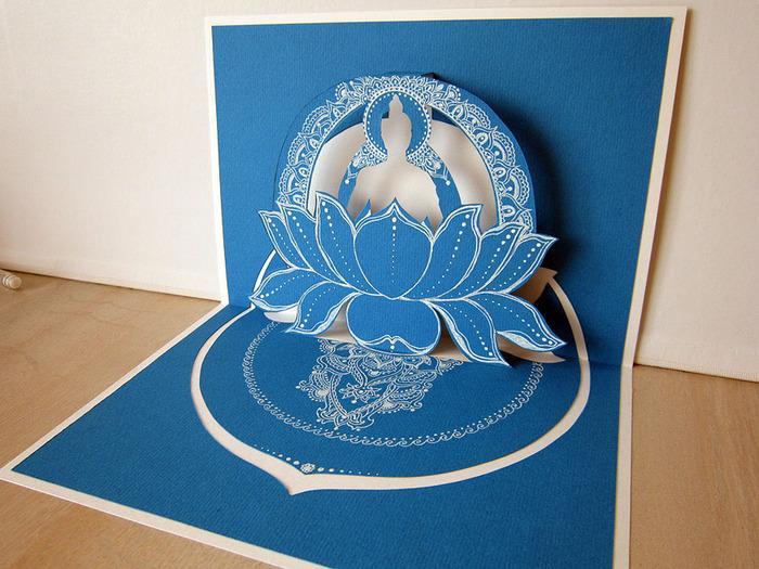 3D-открытка Будда в лотосе, автор Shraddha (2) (700x525, 160Kb)