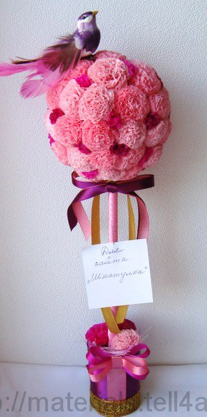Цветы из салфеток для топиария мастер класс фото