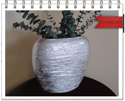 Серебристая фактурная ваза своими руками. Мастер класс в фотографиях
