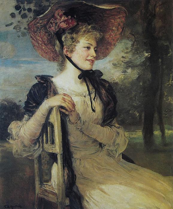Friedrich_August_von_Kaulbach_ German portraitist and historical painter.(1859-1920)Bildnis_einer_jungen_Frau__1900 (578x700, 486Kb)