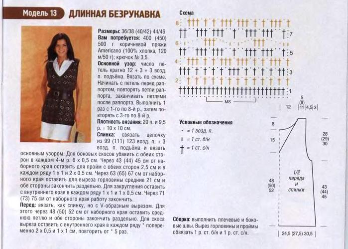 Вязание безрукавок крючком с описанием и схемами