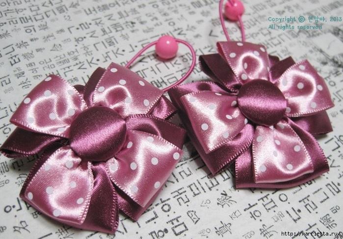 Отличное украшение для маленьких принцесс можно сделать своими руками из атласных ленточек.