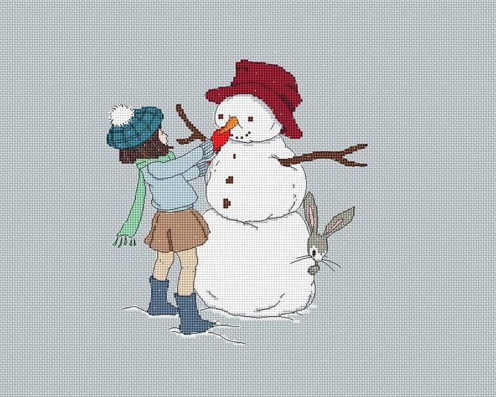 девочка и снеговик_серия кролик (700x560, 180Kb)