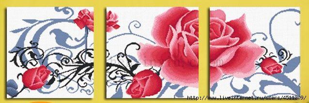 Вышивка триптих розы
