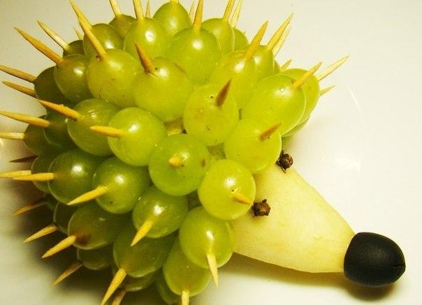 Поделка ежик из овощей и фруктов