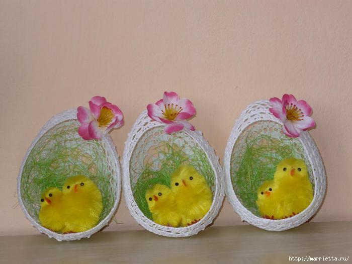 Яйца к пасхе из ниток