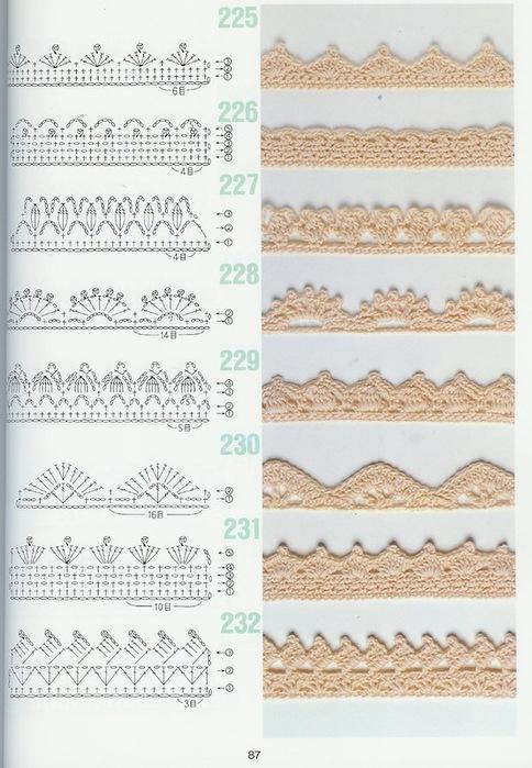 схемы узоров крючком1 (484x700