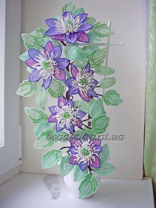 Beaded flowers Цветы из бисера МК (мастер классы) и цветы из бисера и Куст клематиса,мк БисерМагия бисера.