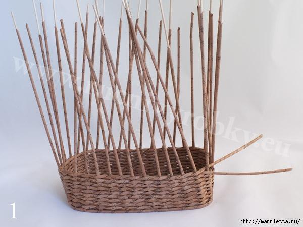 плетение из газет. пасхальная корзинка-заяц (4) (600x450, 145Kb)