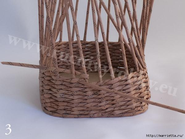 плетение из газет. пасхальная корзинка-заяц (6) (600x450, 137Kb)