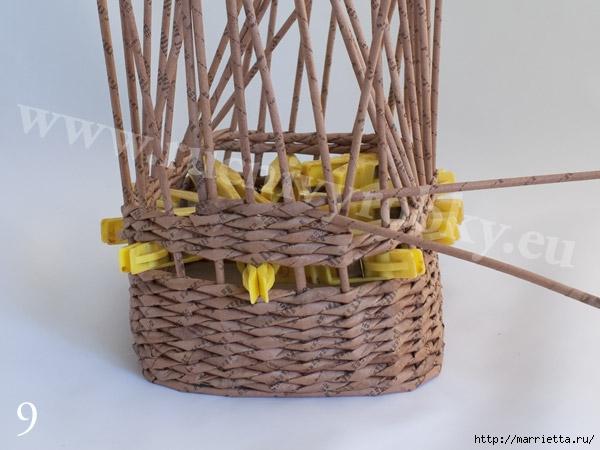 плетение из газет. пасхальная корзинка-заяц (12) (600x450, 145Kb)