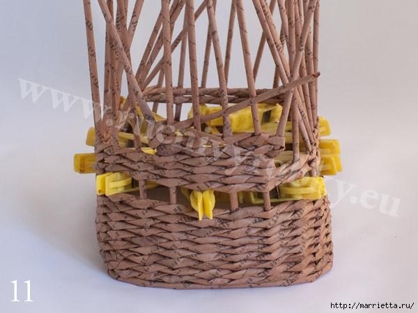 плетение из газет. пасхальная корзинка-заяц (14) (600x450, 149Kb)