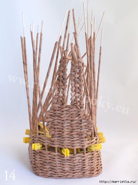 плетение из газет. пасхальная корзинка-заяц (17) (450x600, 144Kb)