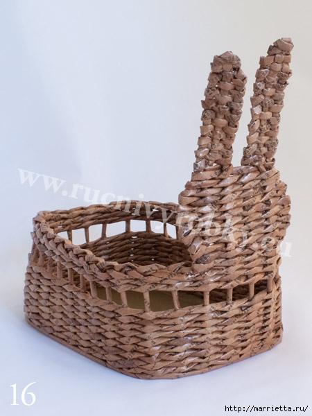 плетение из газет. пасхальная корзинка-заяц (19) (450x600, 140Kb)