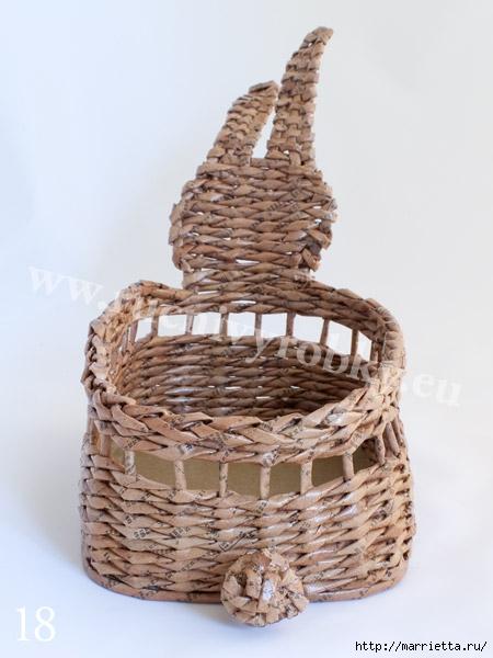 плетение из газет. пасхальная корзинка-заяц (21) (450x600, 135Kb)