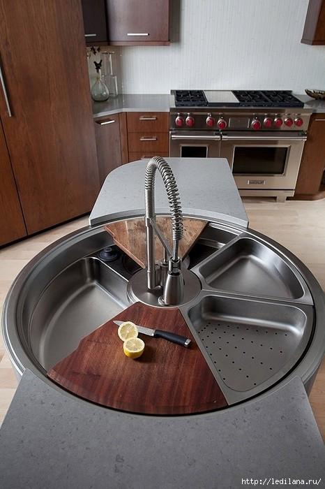 Вращающаяся раковина, с дуршлагом и разделочными досками кухня (466x700, 181Kb)