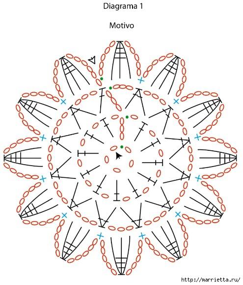 Красивая обвязка скатерти и подушки. Вязание крючком (3) (495x580, 182Kb)