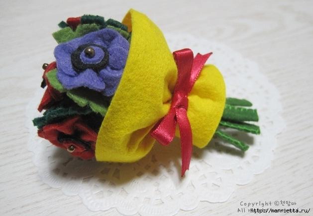 Маленький букетик цветов из фетра. Сувенирный брелок (1) (629x433, 140Kb)