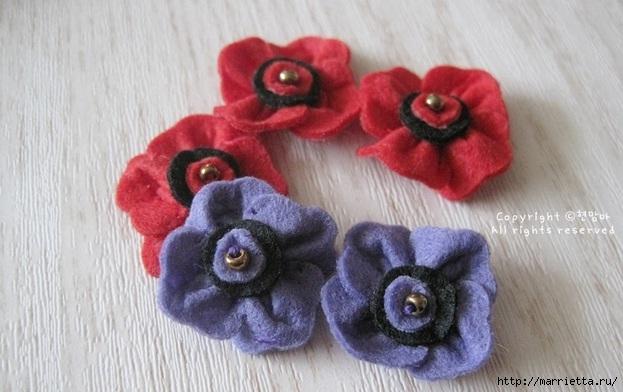 Маленький букетик цветов из фетра. Сувенирный брелок (13) (623x392, 154Kb)