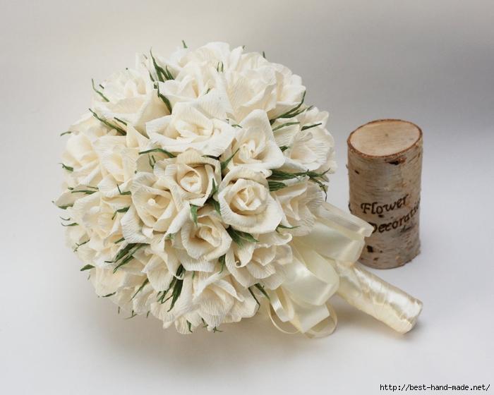 Букет невесты из гофрированной бумаги своими руками