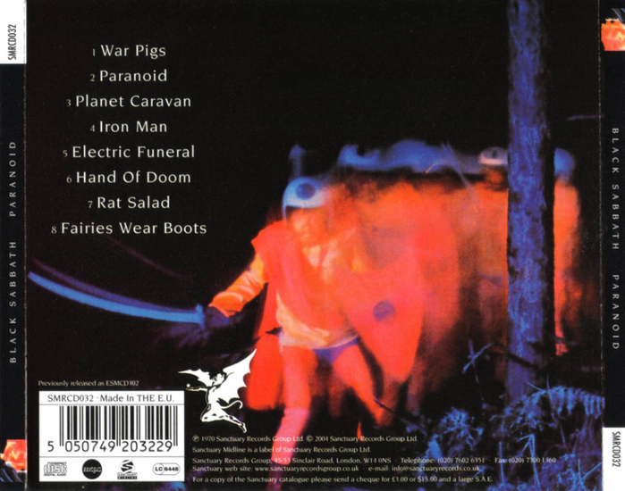 Paranoid (Black Sabbath) - Обратная сторона обложки диска.