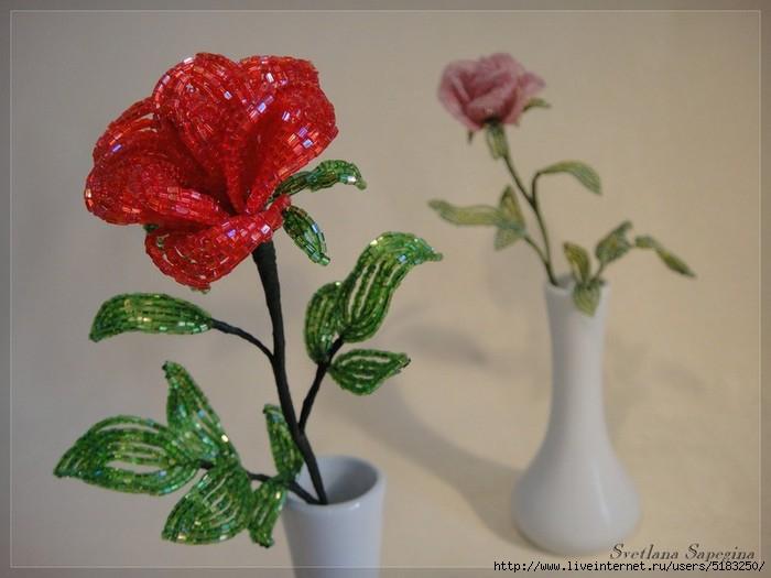 Роза из бисера и проволоки. Видео. МК. (5 уроков) - Vairais