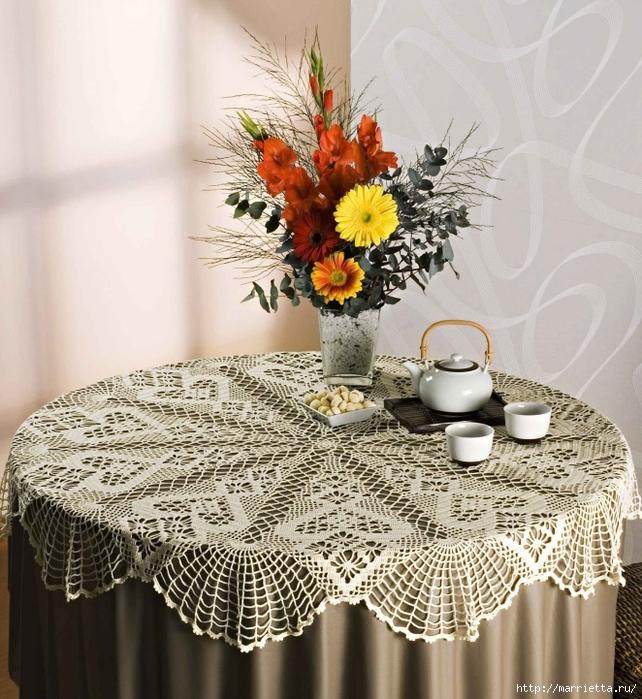 Вяжем скатерти и украшаем подушку крючком. Схемы (3) (642x700, 366Kb)