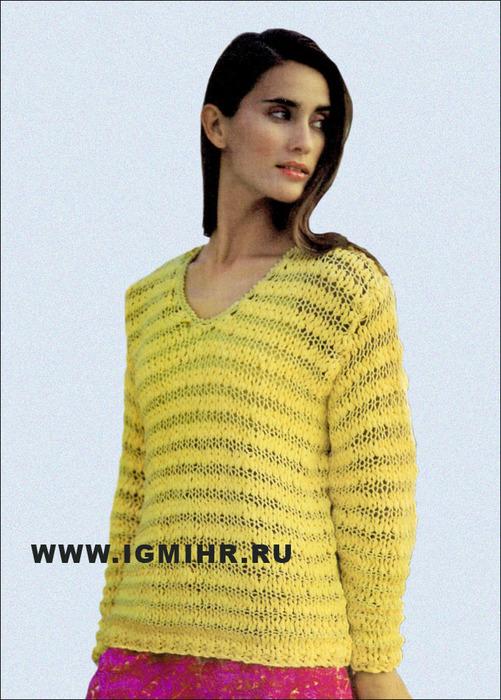 Для бархатного сезона. Пуловер желто-зеленого цвета на толстых спицах. Спицы