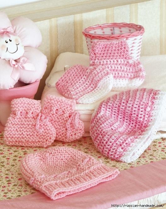 Вязание крючком шапочки и пинеток для новорожденного (1) (528x665, 264Kb)