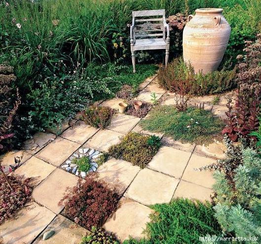 Патио для сада из тротуарной плитки и кирпича (10) (529x494, 298Kb)