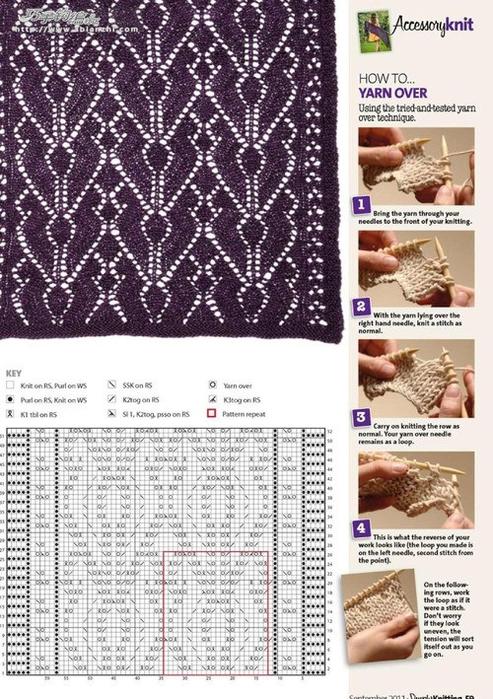 фиолетовый палантин схема (493x700, 381Kb)
