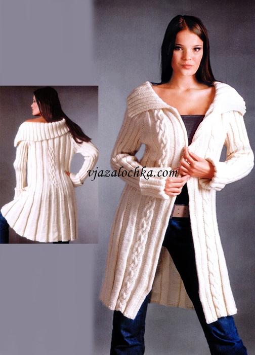 Вяжем пальто спицами. Три модели (6) (504x700, 224Kb)