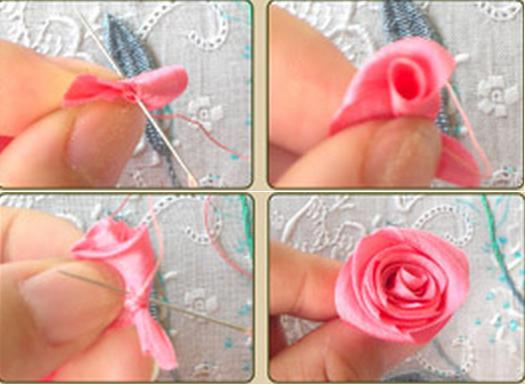 Урок вышивки лентами букетика на подушке (3) (525x385, 361Kb)