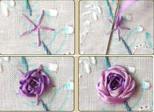 Урок вышивки лентами букетика на подушке (5) (527x385, 399Kb)