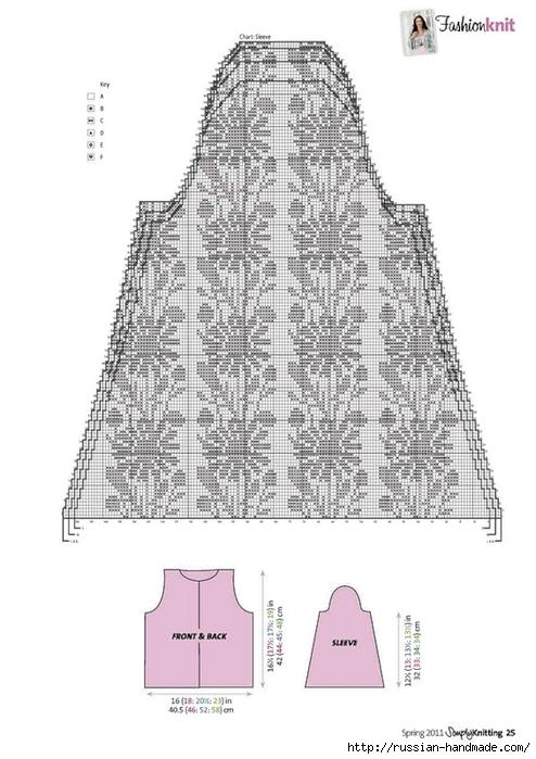 Жакетик с ромашками спицами (5) (494x700, 185Kb)