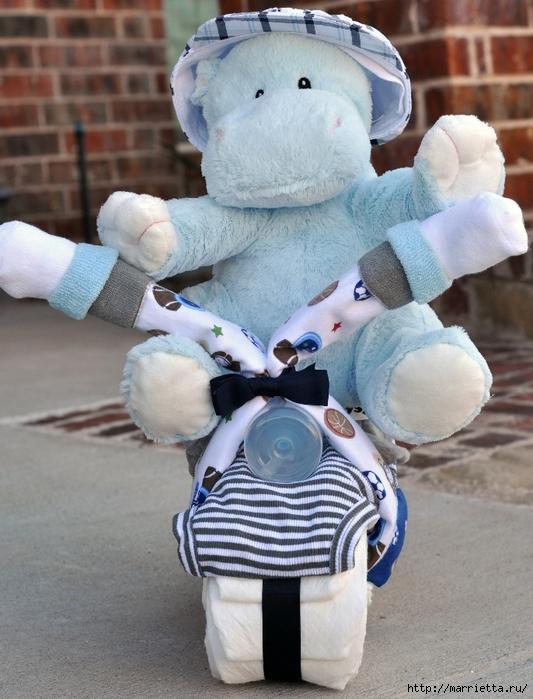 Motocicleta de los pañales - el mejor regalo para un recién nacido.  Master Class (11) (533x700, 298Kb)
