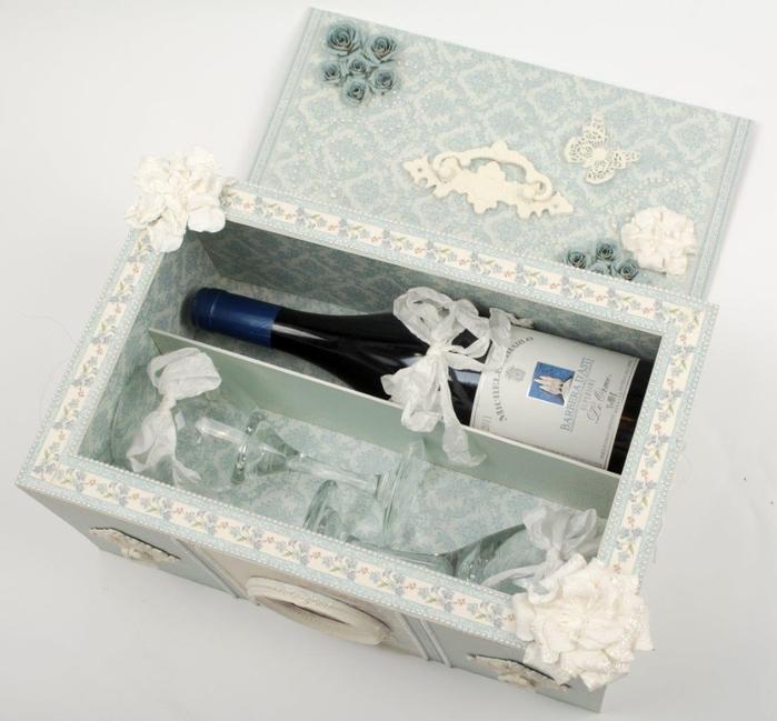 Caja con tapa deslizante de vino y copas de vino.  Gran regalo con sus propias manos!  (13) (700x649, 240Kb)