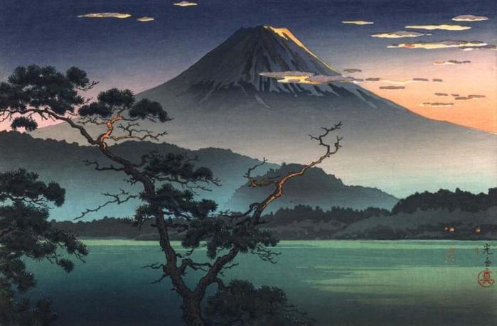 Tsuchiya Koitsu. Закат от озера Сай, 1938 (700x459, 197Kb)