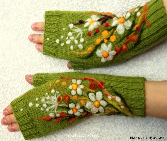 针织绣花手套 - maomao - 我随心动