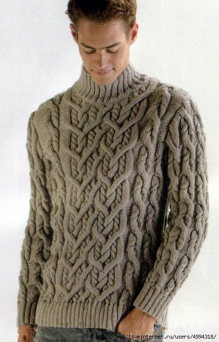 свитер мужской спицами - Самое