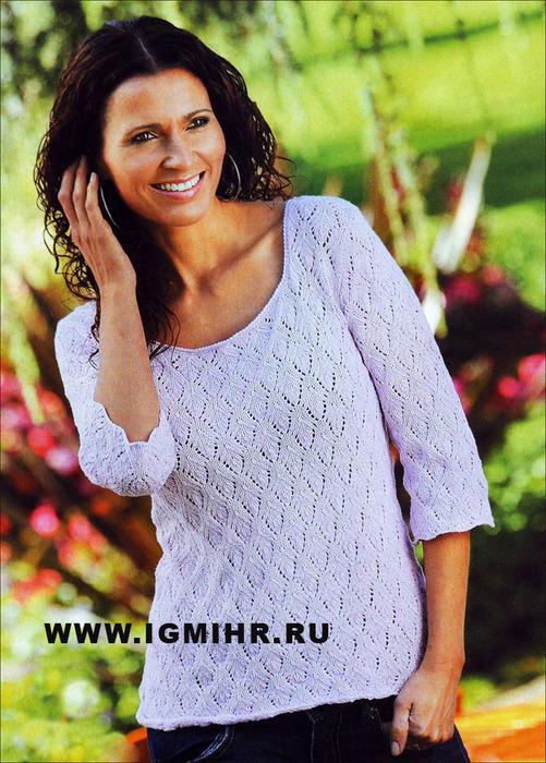 Сиреневый ажурный пуловер, от финских дизайнеров. Спицы