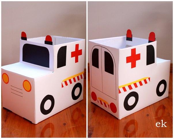 Машинка из картонной коробки
