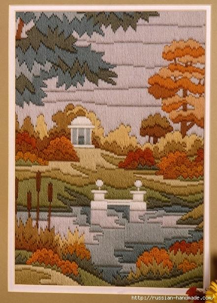 Картина ОСЕННИЙ ПЕЙЗАЖ. Вышивка гладью (1) (441x617, 236Kb)