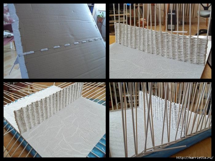 Плетение из газет. Корзинка с перегородкой. Фото мастер-класс (7) (700x525, 301Kb)